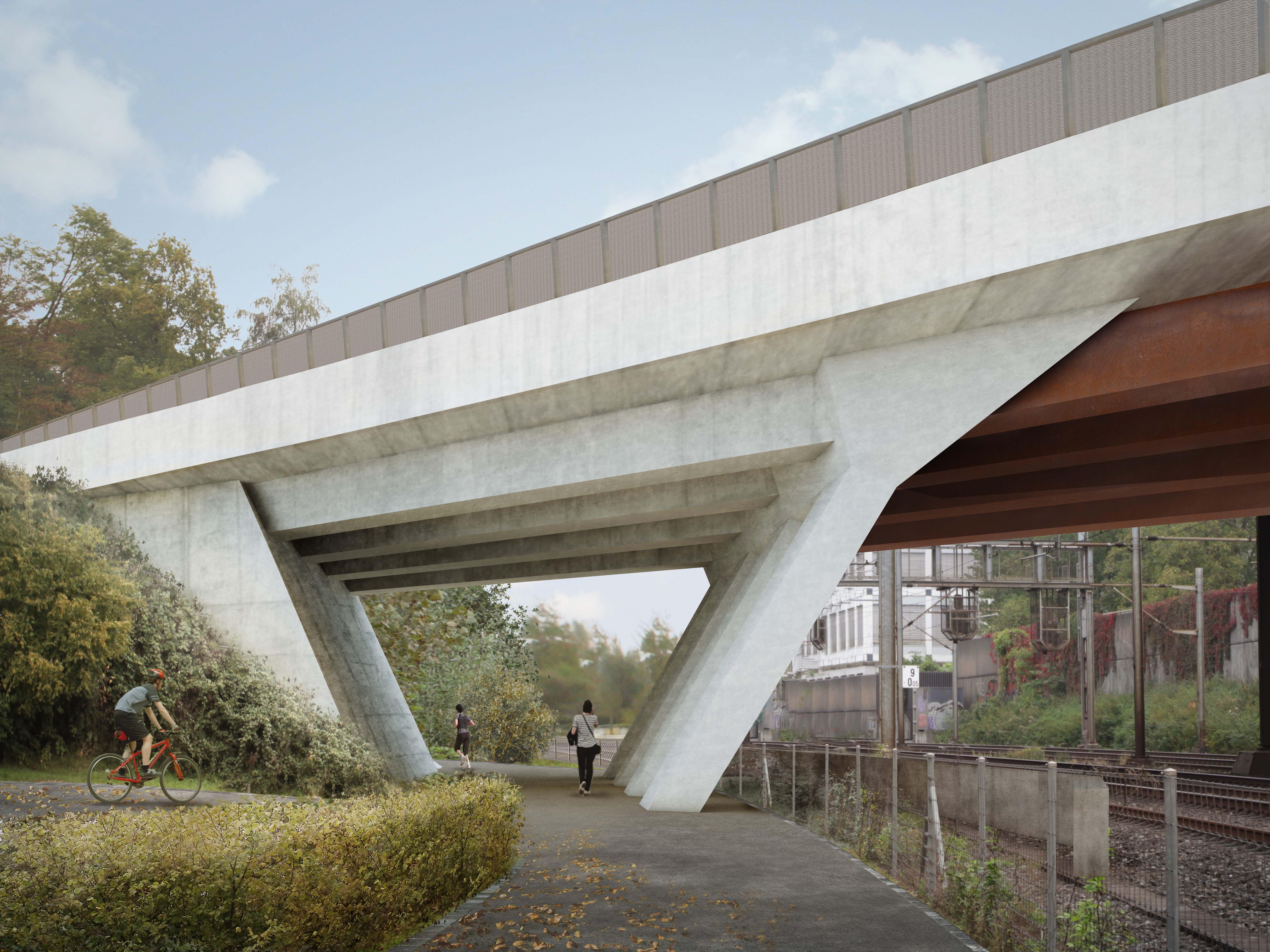 Visualisierung Fussweg unter Brücke