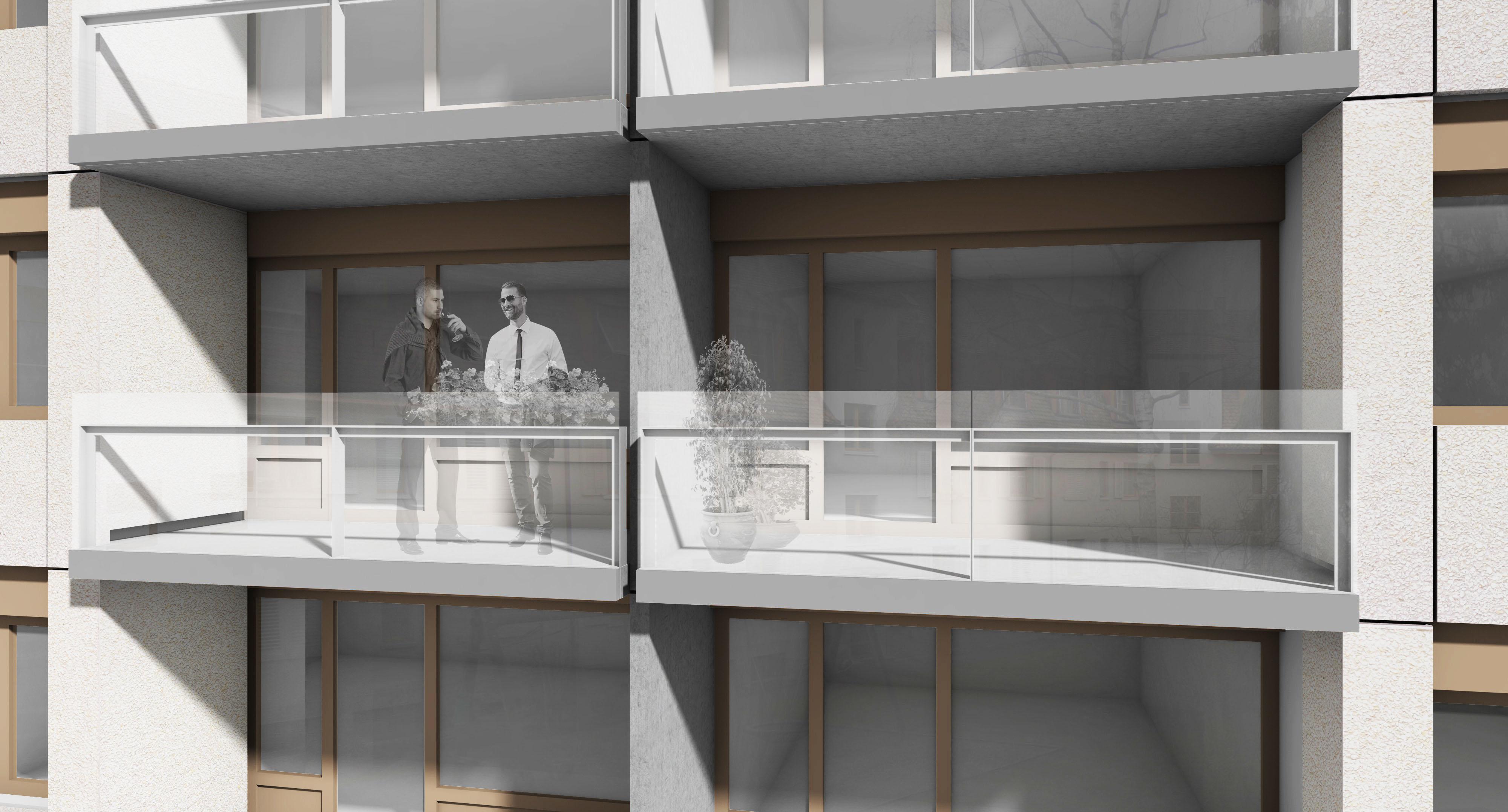 Visualisierung sanierter Balkonbereich